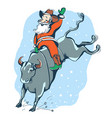 cowboy santa on rodeowestern rodeo bull vector image