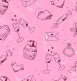 cute pink sketchy Valentines day seamless pattern vector image