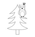 dotted shape ethnic owl animal in pine tree vector image vector image
