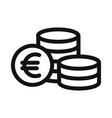 euro coins icon vector image vector image