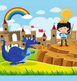 fairytale scene with prince and blue dragon vector image