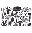 fun hand drawn african plants set cactuses vector image vector image