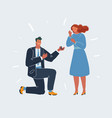 getting up on his knee a man proposes a woman to vector image vector image