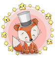 greeting card fox with stars vector image vector image
