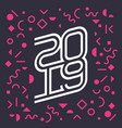 happy new year 2019 holiday print or cover vector image vector image