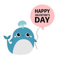 happy valentines day blue whale toy icon holding vector image vector image