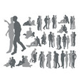 highly detailed couple silhouettes vector image