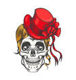 Human skull in red fashion hat