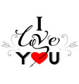 i love you text greeting card valentines day vector image
