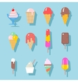 Ice cream icons set in flat style vector image vector image