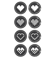 Love pixelated hearts retro labels set - vector image vector image