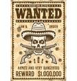 mexican bandit skull in sombrero wanted poster vector image