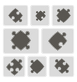 monochrome icons with puzzle vector image vector image