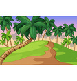 Nature scene with trees on the hills vector image vector image