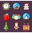 New Year and Christmas flat design icons vector image