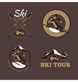 Nordic skiing emblems labels badges vector image