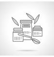 Organic food jars thin line icon vector image
