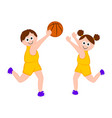 pair of people playing basketball vector image