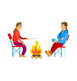 people in sport suit picnic and bonfire vector image vector image