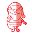 red silhouette of santa claus with gift bag and vector image vector image
