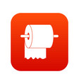 roll of toilet paper on holder icon digital red vector image