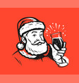 santa claus with a glass christmas or new year vector image