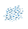 school of fish sea blue silhouettes vector image