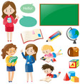 school set with teachers and students vector image