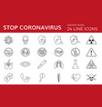 set line icons for coronavirus stop covid-19 vector image