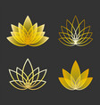 set of linear lotus icon golden flower symbols vector image