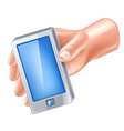 smart phone in hand vector image vector image
