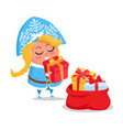 snow maiden with presents icon vector image