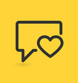 speech bubble icon with heart vector image
