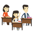 student raising hand in class for an answer vector image vector image