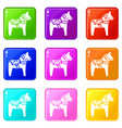 toy horse set 9 vector image vector image