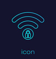 turquoise wifi locked sign line icon isolated on vector image vector image