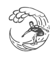 vintage logo men surfing on wave surfboard surf vector image