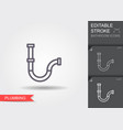 water pipe line icon with editable stroke with vector image