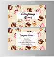 business card design template with tasty cakes vector image