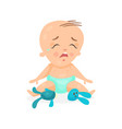 cute cartoon baby sitting on the floor and crying vector image