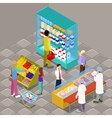 Isometric Supermarket Interior with Products vector image