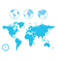 World Map and Globe Icons vector image