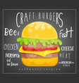 big burger on black background vector image vector image