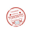 canada arrival stamp isolated visa control sign vector image vector image