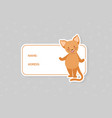 card templates with cute animal name and address vector image vector image