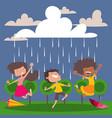 children enjoy rain vector image vector image