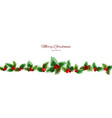 christmas long banner with holly berry watercolor vector image vector image