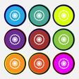 cogwheel icon sign Nine multi colored round vector image vector image