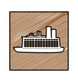 color pencil drawing square frame with cargo ship vector image vector image
