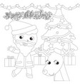 coloring santa claus with tree and reindeer vector image vector image